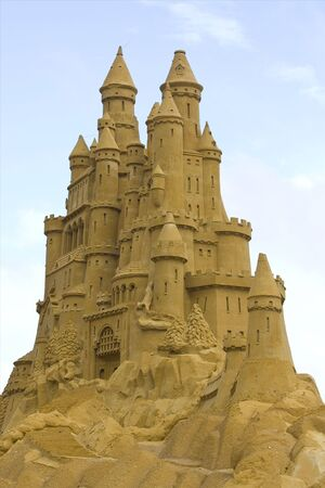 Sand castle and a blue sky Stock Photo