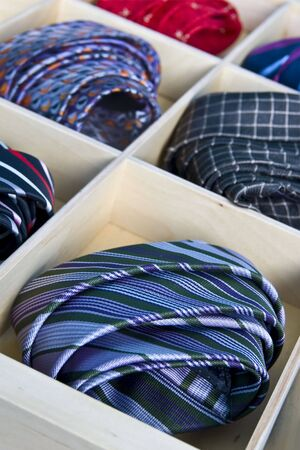Ties in a tie drawer Stock Photo