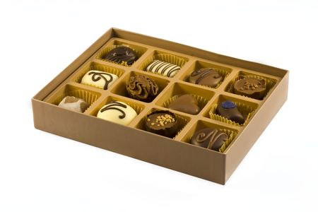 Box of belgian chocolates on a white background Stock Photo