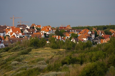 Landscape with flemish style houses Stock Photo