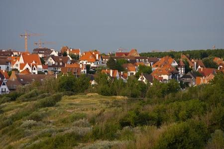flemish:  Landscape with flemish style houses Stock Photo