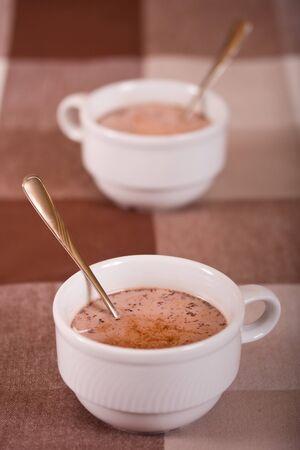 Two mugs with chocolate Stock Photo