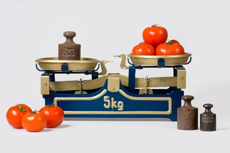 Tomatoes on an old scale