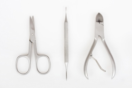 Manicure tools on a white background photo