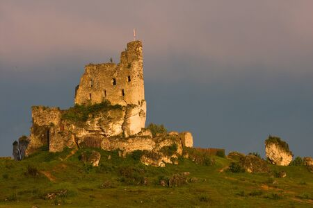 mirow: Castle ruins in a sunset light, Poland. Stock Photo