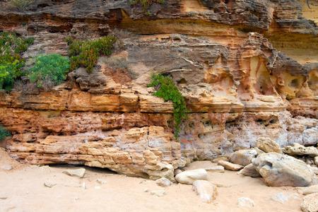 algarve: Cliff rock closeup Algarve, Portugal. Stock Photo