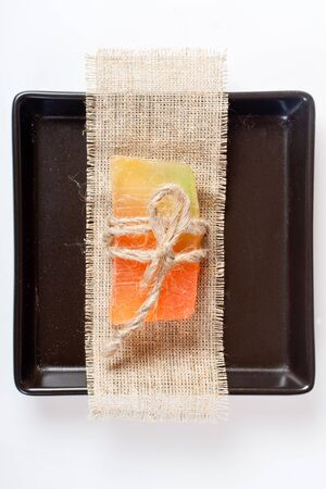 glycerin soap: Tied soap on a square plate