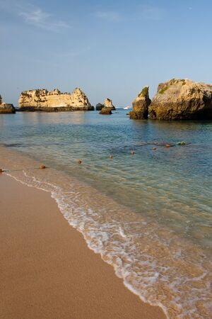 lagos: Rock formations in Lagos, Portugal. Stock Photo