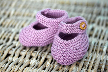purple shoes: Purple hand-made baby shoes