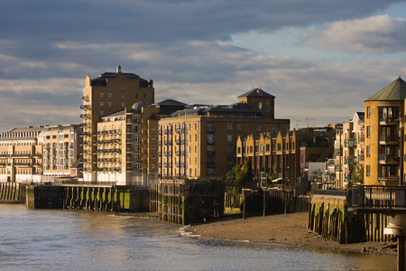 docklands: Architecture in London. Canary Wharf Docklands area. Stock Photo