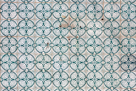 faade: Traditional tiles (azulejos) on facade of old house in Portugal