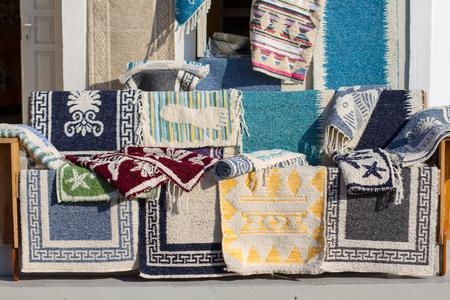 Beautiful Greek handmade rugs Stock Photo