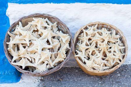 Sea stars in two baskets
