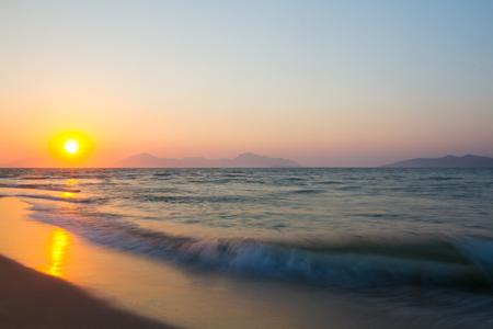 Sunset on a beach. Kos, Greece Stock Photo