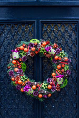 Closeup of christmas door decoration