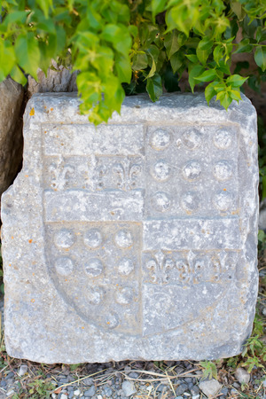 Old stone board with a shield