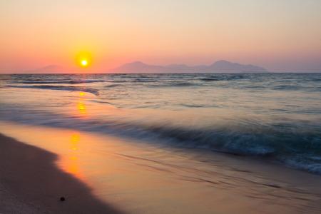Sunset on a beach. Kos, Greece.