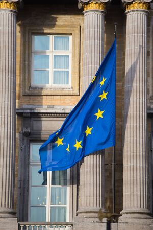 European Union Flag on the building of the Federal Parliament of Belgium in Brussels. Stock Photo