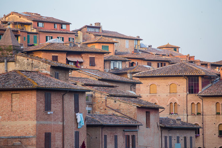Closeup of Siena buildings in Tuscany, Italy.