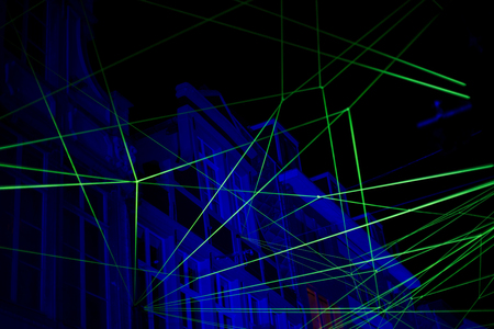 Abstract background with blue and green laser light Stock Photo