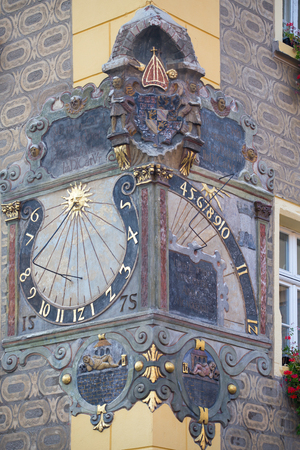 Old medieval sundial closeup, Poland Imagens - 93849262