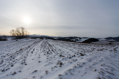 Landscape of Podhale in winter, Poland Stock Photo