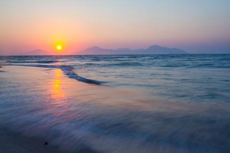 Sunset on a beach. Kos, Greece. motion.
