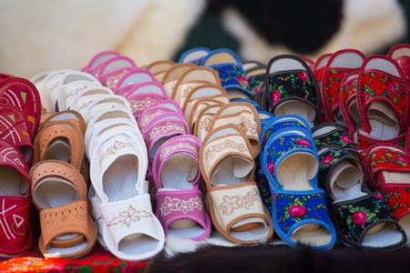 Traditional leather slippers, Zakopane, Poland