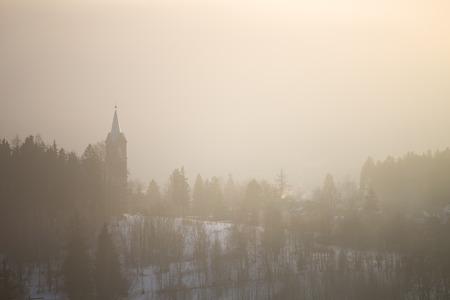 Foggy winter landscape, Szklarska Poreba, Poland.
