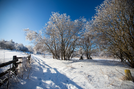 Winter landscape in dolnoslaskie region, Poland
