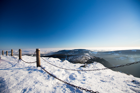 Giant Mountains Krkonose from Sniezka Snezka, in winter.
