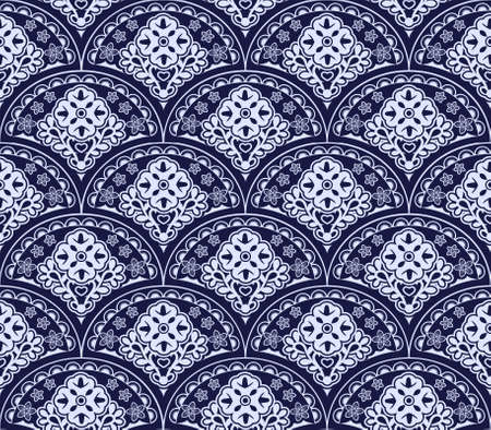 Vector asian style pattern of overlapping arcs. Abstract four petals flowers illustration.