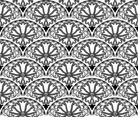 Vector seamless floral pattern of overlapping arcs.