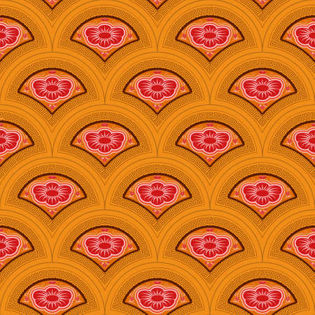 Vector Asian style pattern of overlapping arcs.