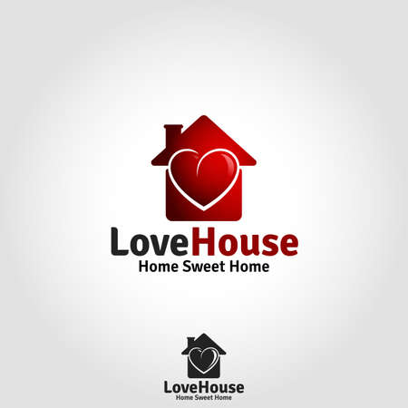 Love House Logo - Lovely Family Live Place 向量圖像