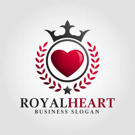 Royal heart Logo template