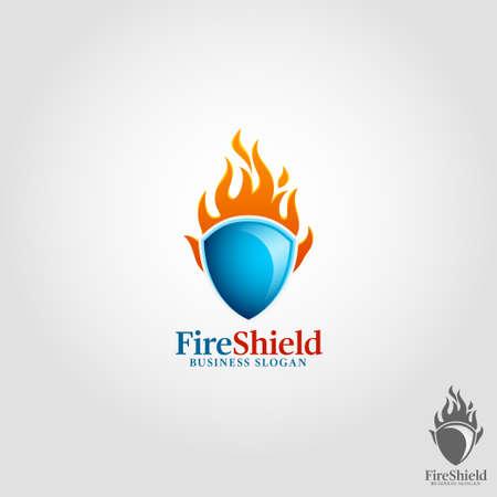Modèle de logo de bouclier d'incendie Logo