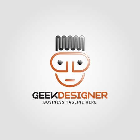 Geek Designer logo with line art style