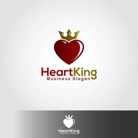 King Heart Logo Template Çizim