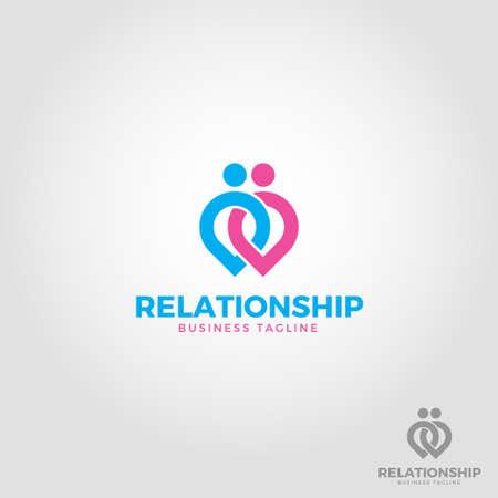Relation Ship - Lovely Couple Logo Template Illustration