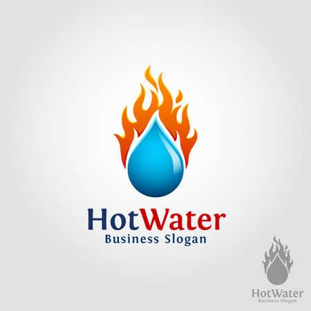 Hot Water - Burning Water Drop Logo