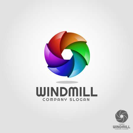 Windmill - Stylish 3D Vortex Circle logo Template Illustration