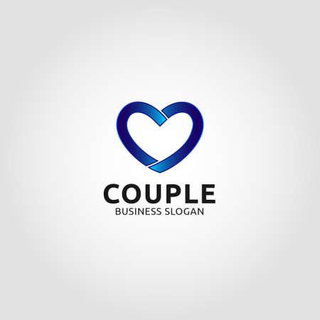 Couple - Line Heart Logo