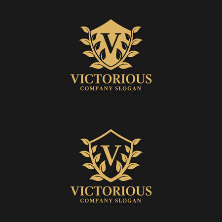 Stylish letter v logo with shield and leaf ornament concept Illustration