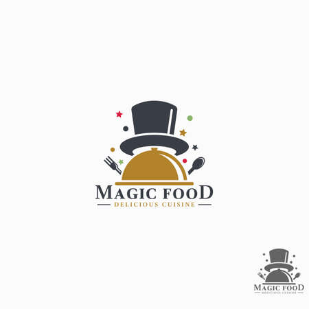 Food logo with magic concept