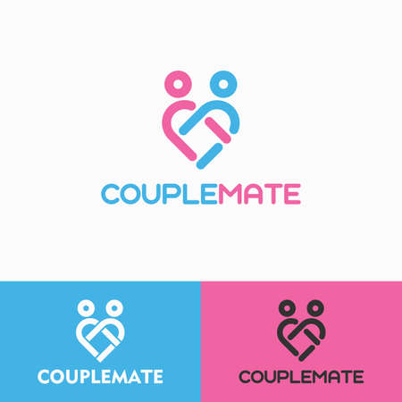 Stylish couple logo with heart line concept