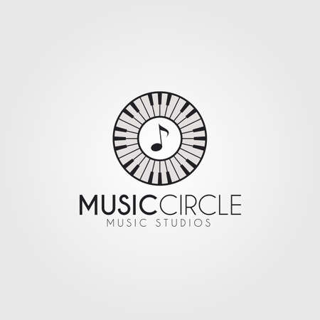 Music logo with modification musical instrument Illustration
