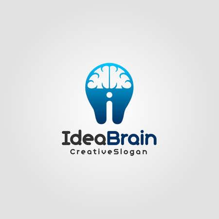 Idea Brain est un concept de combinaison de lettre i, de cerveau et d'ampoule. il peut être utilisé par les entreprises créatives, l'éducation, les cours, l'école, la science, la technologie et bien d'autres idées commerciales. Vecteurs