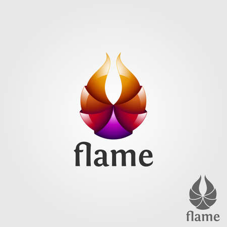 Stylish 3D Flame Logo