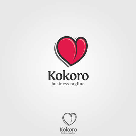 Kokoro is astylish heart logo. Kokoro is from  japanese language which means heart